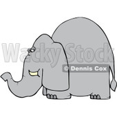 Royalty-Free (RF) Clipart Illustration of a Grey Elephant Looking Back Over Its Shoulder © Dennis Cox #86866
