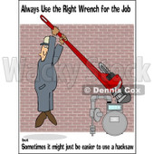 Royalty-Free (RF) Clipart Illustration of a Work Safety Scene Of A Man Tightening A Gas Meter © Dennis Cox #86869