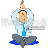 Royalty-Free (RF) Clipart Illustration of a Meditating Businessman Sitting On The Floor In A Yoga Pose © Dennis Cox #86872
