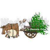 Royalty-Free (RF) Clipart Illustration of a Cow And Sheep Pulling A Middle Eastern Man And Corn In A Cart © Dennis Cox #87376