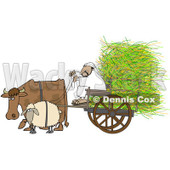 Royalty-Free (RF) Clipart Illustration of a Cow And Sheep Pulling A Middle Eastern Man And Hay In A Cart © djart #87378
