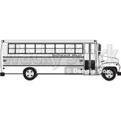 Royalty-Free (RF) Clipart Illustration of a Black And White Profiled School Bus © djart #87572
