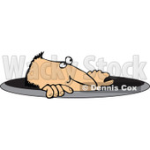 Royalty-Free (RF) Clipart Illustration of a Caucasian Man Emerging From A Manhole © Dennis Cox #88333