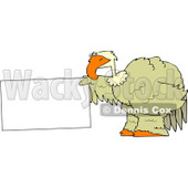 Royalty-Free (RF) Clipart Illustration of a Big Bird Holding Out A Blank Sign © Dennis Cox #88334