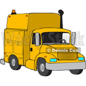 Royalty-Free (RF) Clipart Illustration of a Front View Of A Yellow Utility Truck © Dennis Cox #88335