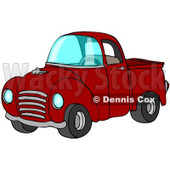 Royalty-Free (RF) Clipart Illustration of a Vintage Red Pickup Truck With A Metal Grille © Dennis Cox #88338