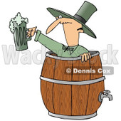 Royalty-Free (RF) Clipart Illustration of a Skinny Man In A Beer Keg, Holding Up Green Beer © Dennis Cox #88339