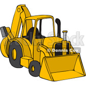 Royalty-Free (RF) Clipart Illustration of a Parked Yellow Backhoe © Dennis Cox #88341