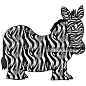 Royalty-Free (RF) Clipart Illustration of a Chubby Zebra, Its Body In Profile, His Head Looking At The Viewer © djart #88343