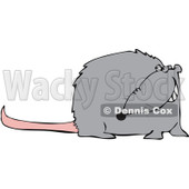 Royalty-Free (RF) Clipart Illustration of a Grinning Gray Rat With A Long Pink Tail © djart #89444