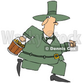 Royalty-Free (RF) Clipart Illustration of a Chubby Leprechaun Running With A Bucket Of Gold Coins © Dennis Cox #90300