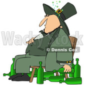 Royalty-Free (RF) Clipart Illustration of a Chubby Drunk Leprechaun Sitting In A Chair With Alcohol Bottles On The Floor © djart #90301