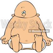 Royalty-Free (RF) Clipart Illustration of a Baby Sitting In A Dirty Diaper © Dennis Cox #90302
