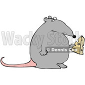 Royalty-Free (RF) Clipart Illustration of a Fat Gray Rat Holding A Wedge Of Cheese © djart #90303