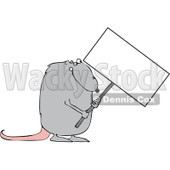 Royalty-Free (RF) Clipart Illustration of a Gray Rat Holding A Blank Sign © Dennis Cox #92102