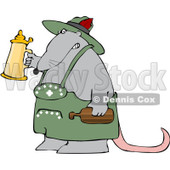 Royalty-Free (RF) Clipart Illustration of an Oktoberfest Rat Holding Up A Beer Stein © djart #92104