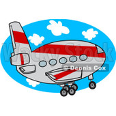 Royalty-Free (RF) Clipart Illustration of a Gray And Red Commercial Airliner Ascending © Dennis Cox #92106