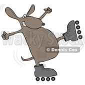 Royalty-Free (RF) Clipart Illustration of a Roller Skating Dog About To Fall © Dennis Cox #92107