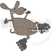 Royalty-Free (RF) Clipart Illustration of a Dog Falling While Roller Skating © djart #92108