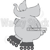 Royalty-Free (RF) Clipart Illustration of a Gray Elephant Falling While Roller Skating © djart #92109