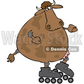Royalty-Free (RF) Clipart Illustration of a Cow Roller Blading © djart #92110