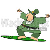 Royalty-Free (RF) Clipart Illustration of a Sporty Leprechaun Surfing On A Shamrock Board © Dennis Cox #92111
