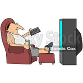 Royalty-Free (RF) Clipart Illustration of a Relaxed Guy Sitting In A Chair With A Beverage, Pointing A Remote At A TV © djart #93113