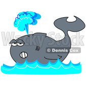 Royalty-Free (RF) Clipart Illustration of a Gray Whale Floating On Blue Waves, Shooting Up A Spray Of Water © djart #93115