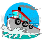Royalty-Free (RF) Clipart Illustration of a Red And Gray Tugboat On The Sea © Dennis Cox #93116