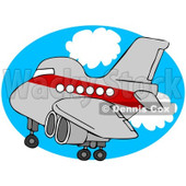 Royalty-Free (RF) Clipart Illustration of a Red And Gray Airplane Over An Oval Of Blue Sky With Clouds © Dennis Cox #93117