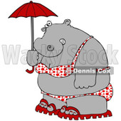 Royalty-Free (RF) Clipart Illustration of a Fat Hippo In A Polka Dot Bikini, Carrying A Parasol © Dennis Cox #93119