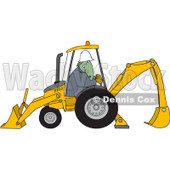 Royalty-Free (RF) Clipart Illustration of a Construction Dinosaur Operating A Yellow Backhoe © Dennis Cox #93759