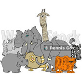 Royalty-Free (RF) Clipart Illustration of Two African Elephants With A Tiger, Zebra, Lion, Hippo, Rhino And Giraffe © Dennis Cox #93760