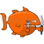 Royalty-Free (RF) Clipart Illustration of a Hungry Orange Fish With A Knife And Fork © Dennis Cox #93817