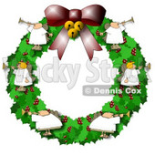 Clipart Illustration of Angels on a Christmas Wreath, Playing Horns © Dennis Cox #9400