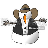 Snowman Cowboy Clipart Illustration © Dennis Cox #9402