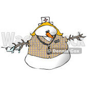 Medical Nurse Snow Woman Wearing a Stethoscope Clipart Illustration © djart #9404