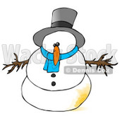 Snowman With a Patch of Pee on Him Clipart Illustration © Dennis Cox #9405