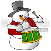Snowman Drummer Playing the Drums Clipart Illustration © Dennis Cox #9408
