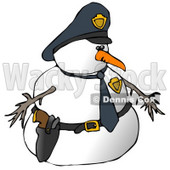 Snowman Police Officer Clipart Illustration © Dennis Cox #9409