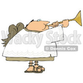 Balding Male Angel Playing a Horn Clipart Illustration © Dennis Cox #9410