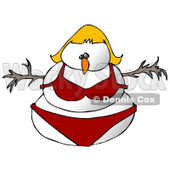 Blond Female Snowman Snow Woman in a Red Bikini Clipart Illustration © djart #9411