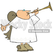 Bald Male Angel Playing a Horn Clipart Illustration © Dennis Cox #9412