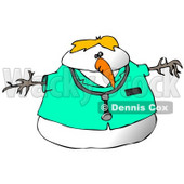 Doctor Snowman Wearing a Stethoscope Clipart Illustration © Dennis Cox #9413
