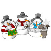 Dog Urinating on a Snowman Clipart Illustration © Dennis Cox #9414