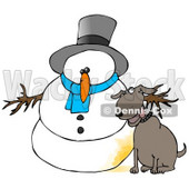 Dog Peeing on a Snowman Clipart Illustration © Dennis Cox #9415
