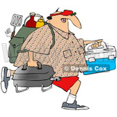 Royalty-Free (RF) Clipart Illustration of a Middle Aged Caucasian Man Carrying A Portable BBQ And Picnic Gear © djart #95249