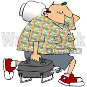 Royalty-Free (RF) Clipart Illustration of a Middle Aged Caucasian Man Carrying A Portable Gas BBQ © djart #95251