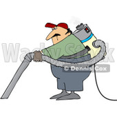 Royalty-Free (RF) Clipart Illustration of a Male Janitor Wearing And Using A Back Vacuum © djart #97355