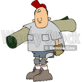 Royalty-Free (RF) Clipart Illustration of a Caucasian Carpet Layer Man Carrying A Roll Of Carpet And A Tool © Dennis Cox #97358